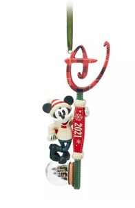 Disney Store Mickey Mouse Key Christmas Hanging Ornament Bauble Snow Globe 2021