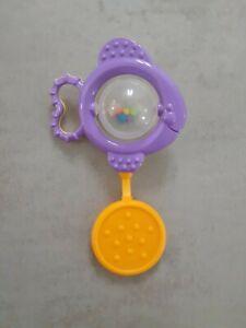 VINTAGE RETRO BABY FISH BEAD SHAKER RATTLE TEETHER Lollipop Shape Sensory Toy