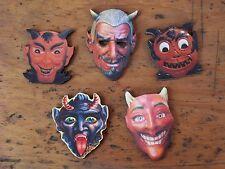 5 vintage Diablo images Halloween Devil faces miniature masks laser cut