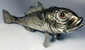 Spanish 915 Silver Articulated Fish With Red Glass Eyes Hallmarked