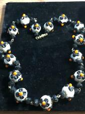 Vintage Colored Beads w White & Black Flowers Art Glass Necklace-Choker
