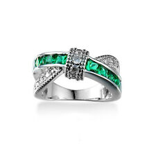 Green Emerald Criss Cross White Gold Filled Wedding Size 7 Jewelry Rings BY102