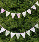 Vintage Wedding Garden Party Floral Fabric Bunting Flag Banner Garland 2 Metres