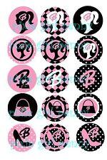 """Barbie Iconic Silououete Logo """"B""""  Pink/Black 15 Precut  Bottle cap Images 1"""""""