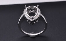 8x10mm Pear Cut Solid 14kt 585 White Gold Natural Diamond Semi Mount Ring