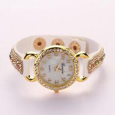 Weiß Frauen Mädchen Dame Geneva Kristall Wildleder LederArmband Armbanduhr
