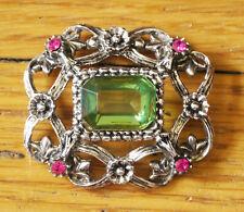 Vintage Florenza trinket box jeweled lid (LID ONLY) Green and pink rhinestones