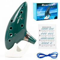 Ocarina 12 Tones Alto C with Song Book Display Stand Neck Cord Green