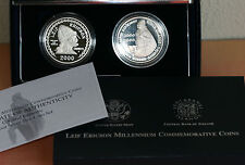 2000 Leif Ericson US Mint Set Two-Coin Proof Silver Dollar Iceland & Kronur