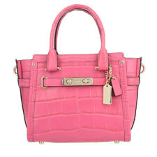 Coach 37493 Dahlia Pink Croc Embossed Leather Carryall Swagger 27 Satchel  $650