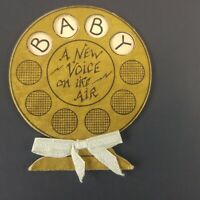 Antique Art Deco 1920's Greeting Card Baby Announcement Vintage Microphone