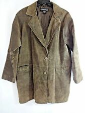 Savannah Womens Brown Suede Coat Sz L Jacket Fully Lined 2 Front Pockets