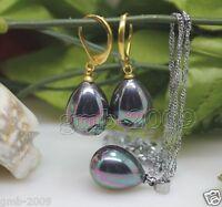 A Set Genuine 12x16mm Rainbow Black South Sea Shell Pearl Drop Earrings Necklace