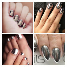Mirror Chrome Effect Nail Powder No Polish Foil Nails Art Glitter Silver Shiny