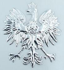 "Poland, Polish Eagle Chrome silver finish  decal emblem 3D sticker car bike 2.5"""