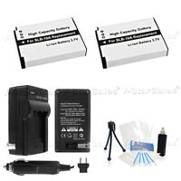 2X SLB-10A Battery + Charger for Samsung HMX-U100 WB150F WB250F WB500