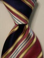 ERMENEGILDO ZEGNA Men's Silk/Cotton Necktie ITALY Luxury STRIPED Pink/Blue EUC