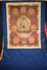 Thangka, Tibet, 8 Buddhas, feine Goldmalerei, Seidenbrokatmontierung,120x80cm