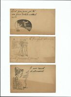 Antique Post Card c.1890's Lot Of 3 PRIVATE MAILING CARDS