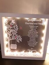 Personalised Godparent Frame With Lights Perfect gift idea