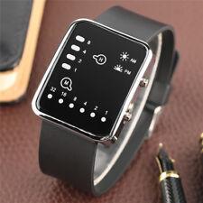 Modern LED Black Silicone/Rubber Band Men Boy Military Sport Quartz Wrist Watch