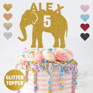 Personalised Custom Glitter Cake Topper, Elephant Boys Girls Childrens Birthday
