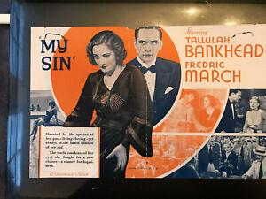 "My Sin 1931 Paramount 6x9"" herald Tallulah Bankhead Fredric March"