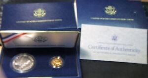 1987-S US Mint ~~ CONSTITUTION ~~ $5 W-MINT GOLD PROOF ~~ SILVER $ PROOF