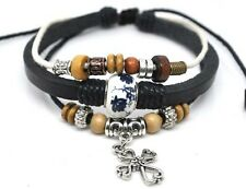 4030141 Leather Cross Bracelet Christian Jesus Religious Jewelry
