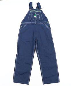 Vintage 90s Rockabilly Mens 40x30 Spell Out Denim Jean Overalls Bibs Cotton Blue