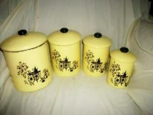 VINTAGE METAL CANISTER SET FRENCH TEA CART YELLOW BLACK EARLY MID CENTURY