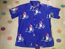 ralph lauren hipster shirt medium mens sailing boats rare blue
