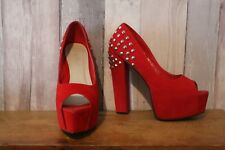 Belle Beaux red studded platform heels 6 a few small marks, have pic of all side