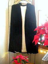 Lovely Antique Hooded Victorian Black Velvet Cape With Silk Lining