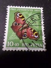 SUISSE 1955, timbre 568, PAPILLON INSECTE, PAON DU JOUR oblitéré BUTTERFLY, used