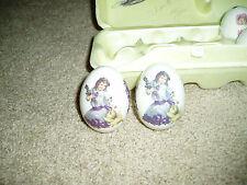 """""""Porcelain Egg'S"""", lot of 2, The Egg Lady, girl kneeling in dress w/iris flowers"""