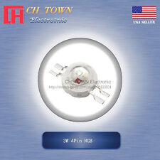 10Pcs 3W Watt High Power 4Pin RGB Common Anode Tri-Color SMD LED Blub Lamp Chip