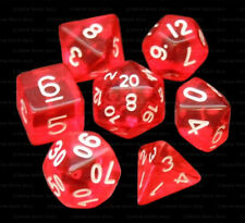 NEW 7 Piece Polyhedral Dice Set - Fire's Glow Translucent Red - Red Dice Bag