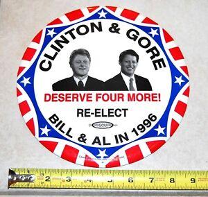 9 INCHES 1996 BILL CLINTON GORE JUGATE campaign pin pinback button presidential