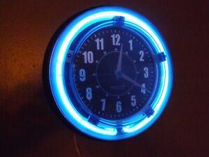 "Blue Neon Light Retro Wall Clock 11"" Garage Shop Game Room Man Cave Bar Dorm"