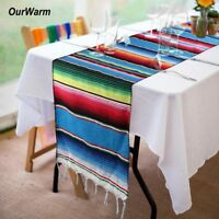 Mexican Serape Table Runner Saltillo Striped Tablecloth for Fiesta Party Decor
