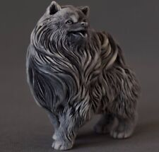 Made in Russia. Spitz Marble, Figurine, Sculpture Animal, Realistic Dog Samoyed