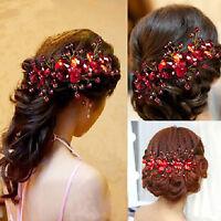 Eg _ DAMEN Rote Blume Hochzeit Braut Party Handgefertigt Haarnadel Klemme