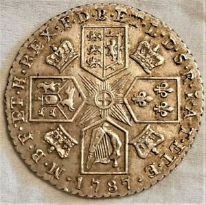 1787 EF George III Silver Shilling Spink 3746