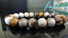 """Genuine Petrified Wood Agate bead bracelet for Men Stretch 10mm 7.5"""" or 8"""" inch"""