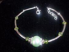 Hot Tibetan Silver Fashion Jewelry Green Crystal&Green Pearl Bead Bracelet B-78