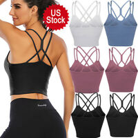 Women Sports Bras Backless Fitness Crop Tops Longline Crossback Padded Yoga Bra