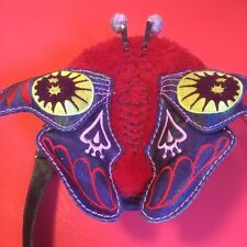 """Oilily Kids Children's Butterfly Moth Purse Red Blue  7"""" 3-D Fur Wings Antennae"""