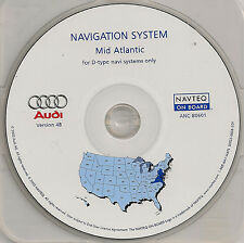2001 2002 2003 Audi A8 A8L Navigation CD Map #8 Cover DE VA +Partial MD PA NJ NC
