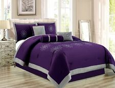 7 Piece Oversize Purple Grey Embroidered Luxury Comforter Set King Size Bedding